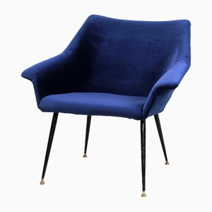 Mid-Century Italian Blue Velvet Easy Chair
