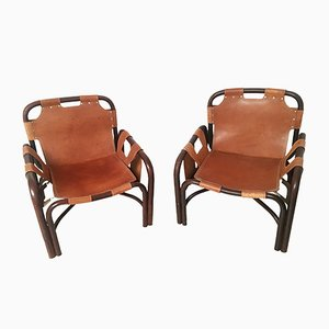 Bamboo & Leather Armchairs by Tito Agnoli for Bonacina, 1960s, Set of 2