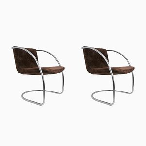 Verchromte Lens Chairs aus Stahlrohr von Giovanni Offredi für Saporiti, 1960er, 2er Set