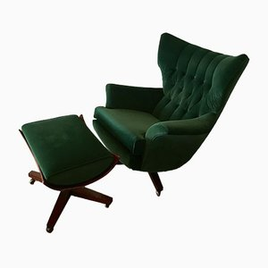 Green Velvet 6250 Wing Back Swivel Chair & Footstool Set by Paul Conti for G-Plan, 1960s