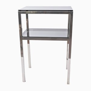 Mid-Century Steel and Smoked Glass Side Table, 1980s