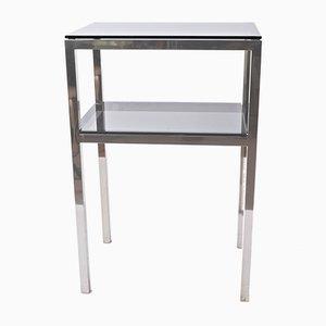 Tavolino Mid-Century in acciaio e vetro fumé, anni '80