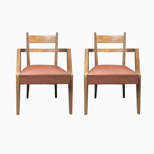Armlehnstühle aus Eichenholz von René-Jean Caillette, 1949, 2er Set