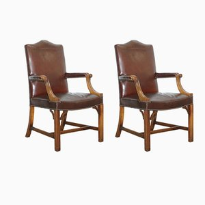 Brown Leather Gainsborough Armchairs from Hillcrest, 1930s, Set of 2
