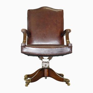 Silla giratoria vintage de cuero marrón de Hillcrest, años 30