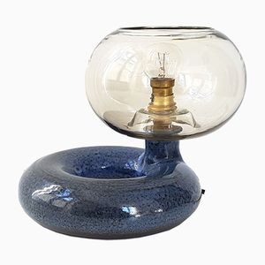 Lampada da tavolo Mid-Century in ceramica e vetro a ciambella, Francia, anni '60