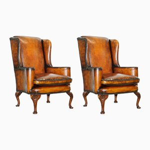 18th Century George III Wingback Armchairs, Set of 2