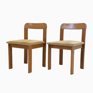 Vintage French Oak & Velvet Chairs, 1960s, Set of 2