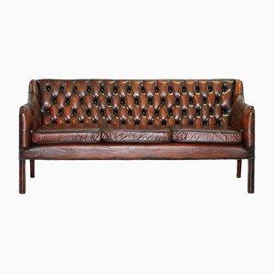 Juego de sofá de tres plazas y butaca Chesterfield vintage de cuero, años 60