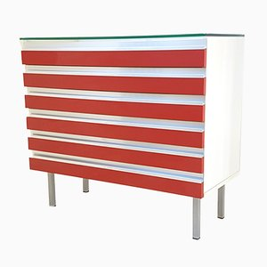 Vintage French Aluminium, Formica & Glass Chest of Drawers, 1970s