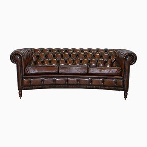 Cigar Brown Leather Chesterfield Club Sofa, 1960s