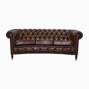 Club sofa in pelle marrone Chesterfield, anni '60