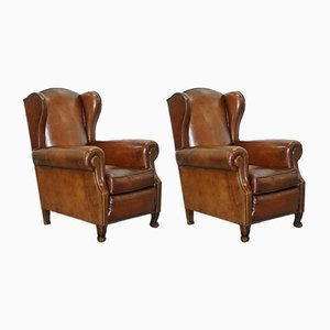 Victorian Wingback Brown Leather Armchairs, Set of 2