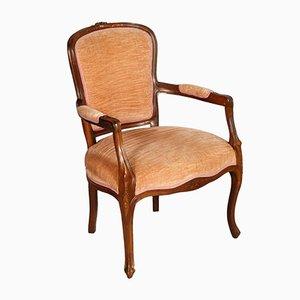 Jugendstil Armlehnstuhl aus geschnitztem Nussholz & Samt