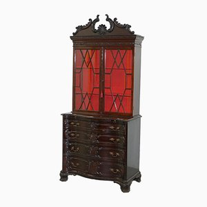 Antique Chippendale Mahogany Bookcase on Serpentine