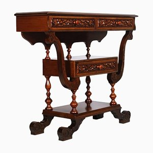 Neo-Gothic Hand-Carved Walnut Console Table, 1920s