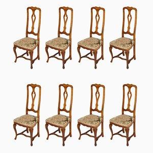 Antike venezianische barocke Esszimmerstühle aus Nussholz, 8er Set