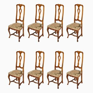 Antique Baroque Style Venetian Walnut Dining Chairs, Set of 8