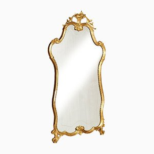 Espejo veneciano barroco antiguo de nogal dorado tallado a mano, década de 1850