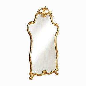Specchio antico veneziano in legno di noce intagliato a mano e dorato, metà XIX secolo