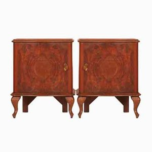Vintage Italian Serpentine Walnut, Burl, & Mahogany Nightstands, Set of 2