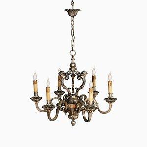 Barocker Louis XIV Kronleuchter aus versilberter Bronze mit 6 Leuchtstellen, 1890er