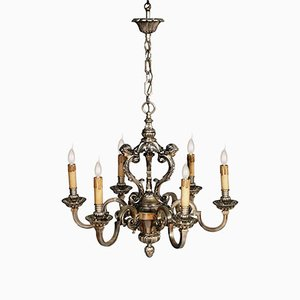 Baroque Louis XIV 6-Light Silver Plated Bronze Chandelier, 1890s