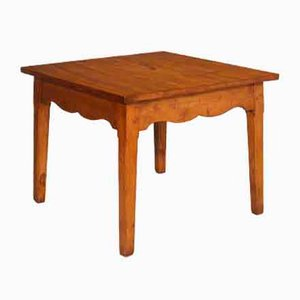 Square Solid Larch Art Deco Dining Table, 1920s
