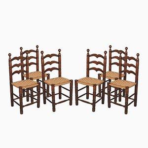 Sedie in noce con sedute in paglia, anni '30, set di 6
