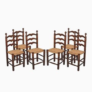 Walnut Chairs with Straw Seats, 1930s, Set of 6