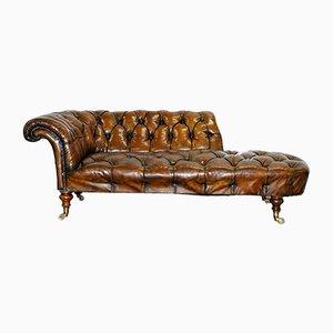 Sofá cama antiguo de cuero marrón y nogal de Howard & Son's