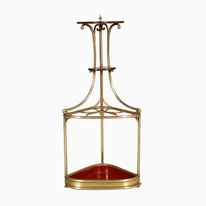 Brass & Oak Art Nouveau Corner Umbrella Stand, 1910s