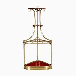 Portaombrelli ad angolo Art Nouveau in ottone e quercia, anni '10