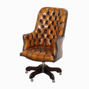 Chesterfield Brown Leather Captains Chair, 1960s