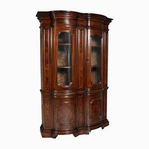 Italian Baroque Renaissance Walnut & Burl Walnut Display Cabinet, 1900s