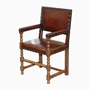 Brown Leather & Solid Oak Dining Chairs, 1900s, Set of 8