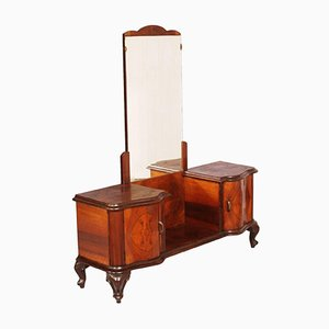 Italian Chippendale Walnut & Burl Walnut Veneer Dressing Table, 1940s