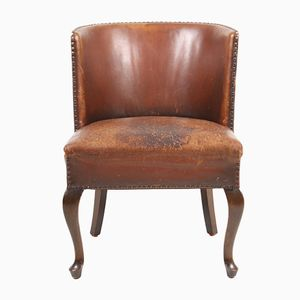 Vintage Danish Patinated Leather Chair, 1940s