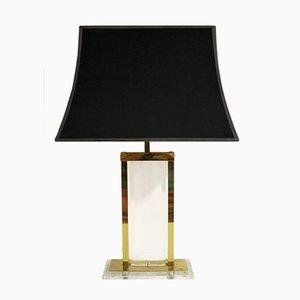 Lampada da tavolo in ottone e lucite, anni '70