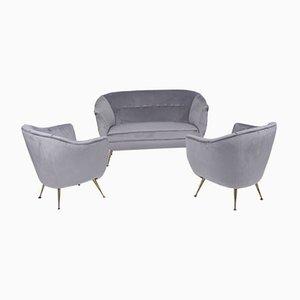 Mid-Century Italian 3-Piece Cobalt Grey Velvet Lounge Set