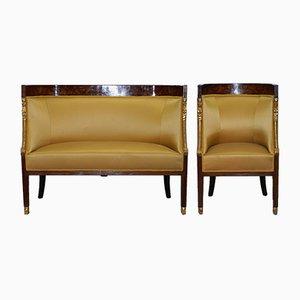 Französische Empire Sessel & Sofa mit Intarsien, 1870er, 2er Set