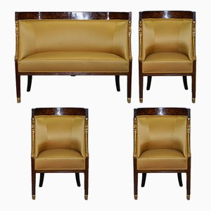 French Empire Marquetry Armchairs & Settee, 1870s, Set of 3