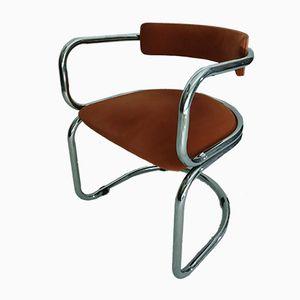 Vintage Armlehnstuhl aus verchromtem Stahlrohr, 1970er