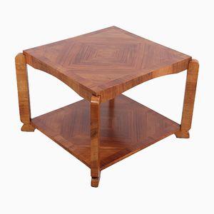 Art Deco Walnut Square Coffee Table, 1930s