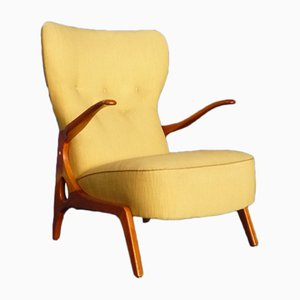 Pastel Yellow Wingback Chair, 1950s