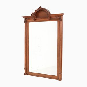 Large French Art Nouveau Oak Mirror, 1900s