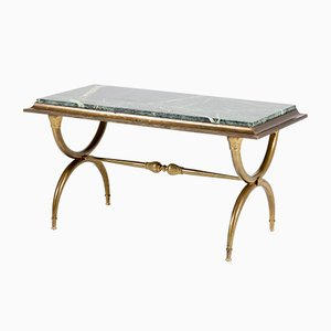 French Hollywood Regency Brass Coffee Table, 1940s