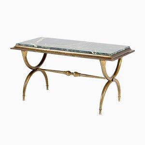 Table Basse Hollywood Regency en Laiton, France, 1940s