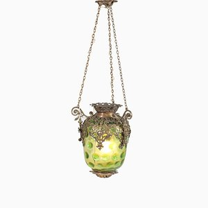Antike französische Laterne aus Messing mit original grünem Glasschirm, 1900er