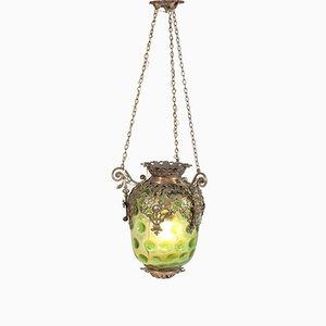 Linterna de recibidor francesa antigua de latón con pantalla de vidrio verde original, década de 1900